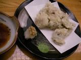 8.穴子の天ぷら(抹茶塩と天つゆで)