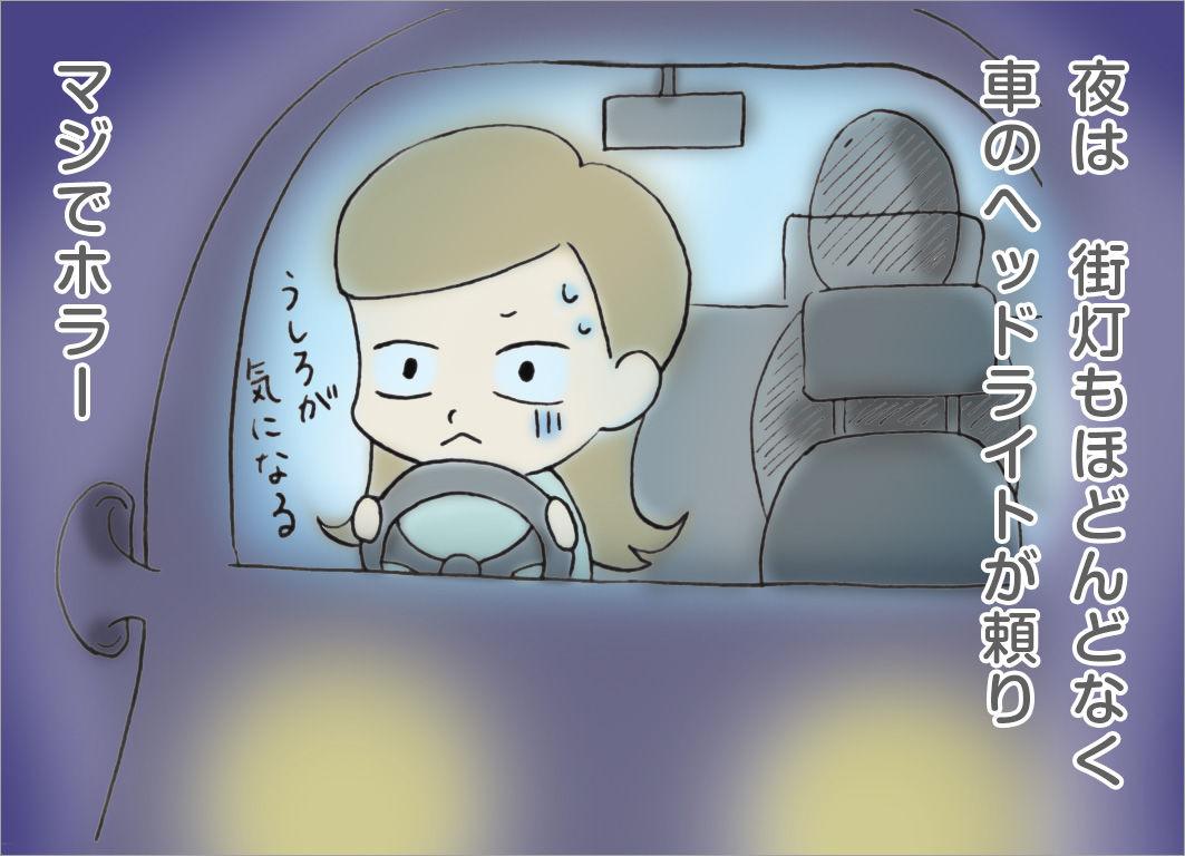 夜は街灯もほとんどなく、車のヘッドライトが頼り。マジでホラー