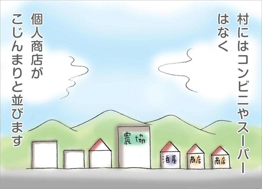 村にはコンビニやスーパーはなく、個人商店がこじんまりと並びます
