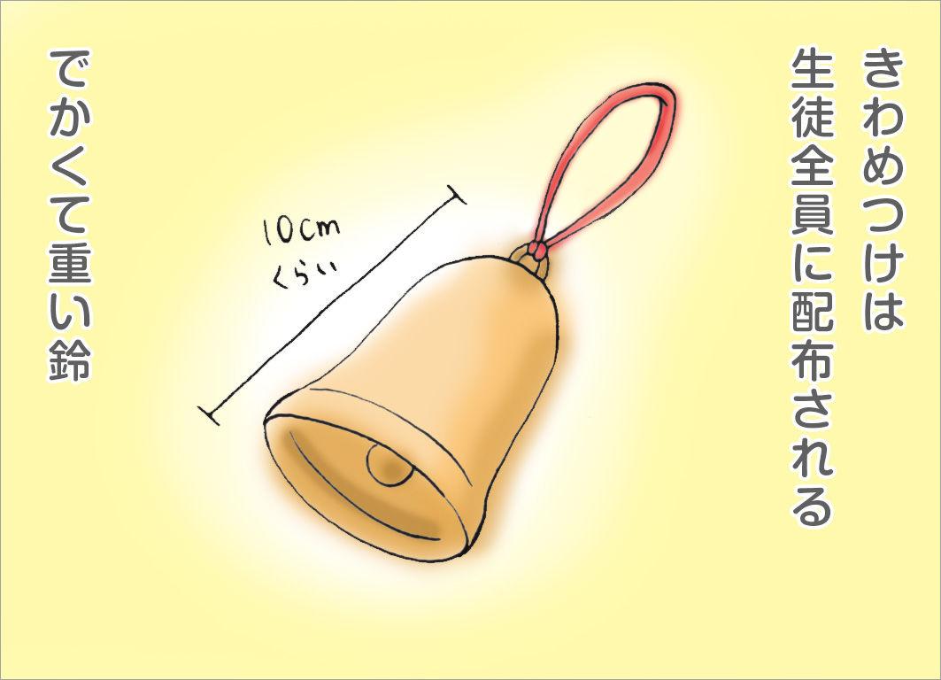 きわめつけは生徒全員に配布されるデカくて重い鈴