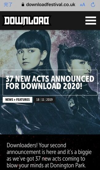 「Download Festival UK」サイトのTOPにBABYMETAL