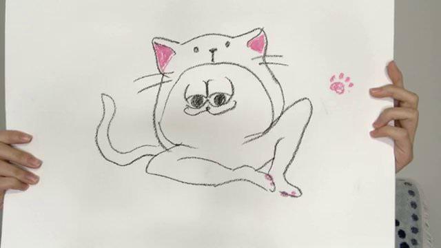 【のぎおび⊿】西野七瀬が描いた「ネコの着ぐるみを着たどいやさん」