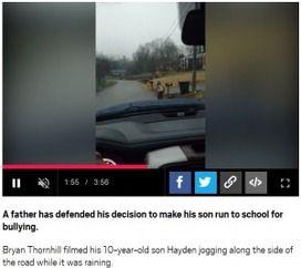 """【アメリカ】 他の子をいじめた息子に父親が""""罰""""としてジョギング登校させる 批判の声も"""