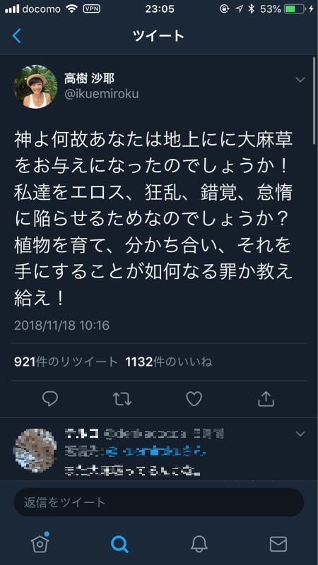 【悲報】高樹沙耶さん、少し気が変になる