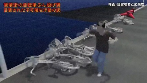 列島警察捜査網THE追跡 自転車蹴り倒し男 CG ダブルラリアット