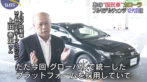 ワールドビジネスサテライト 国民車カローラ12代目 フルモデルチェンジ