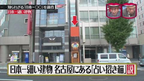 「日本一細い建物」愛知県 名古屋「占い招き猫」