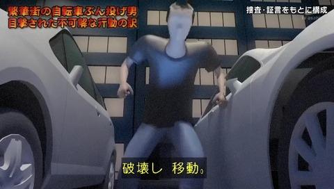 列島警察捜査網THE追跡 自転車蹴り倒し男 CG ドアミラー破壊