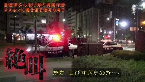 列島警察捜査網THE追跡 自転車蹴り倒し男 CG むせる犯人