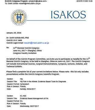 ISAKOS invitation