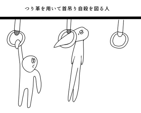 つり革を用いて首吊り自殺を図る人