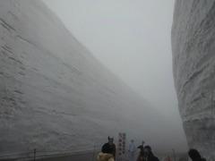 ガスの中、雪の大谷最高地点15m