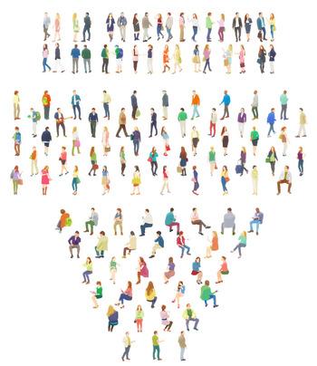 人物素材-カラフル大勢の人々イラスト