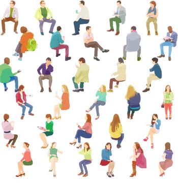 People-sitting座る人物素材イラスト