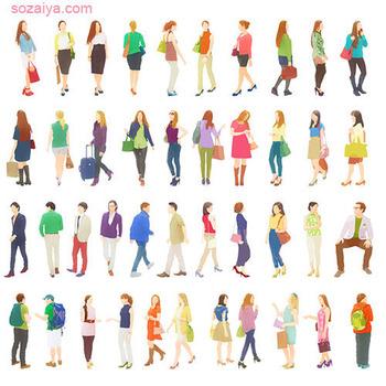 たくさんの人々-人物イラスト-全身素材