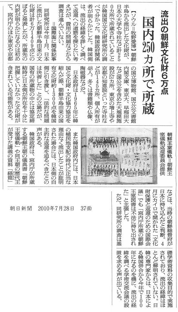 朝鮮半島から流出した文化財の返還問題