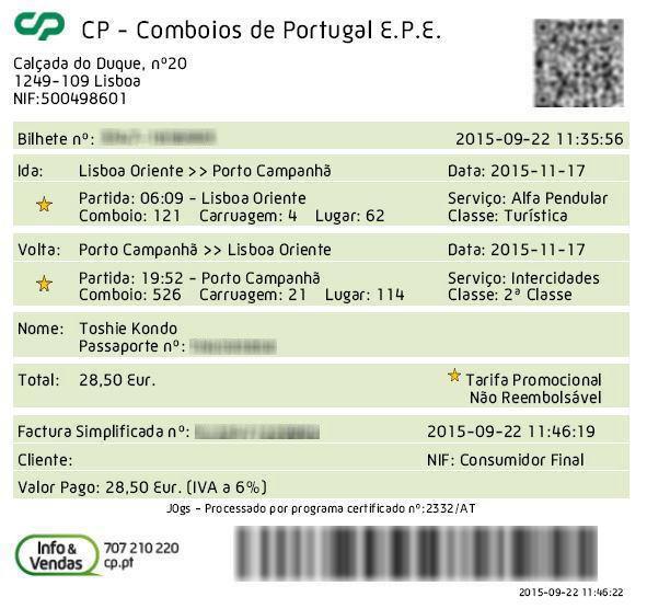 ポルトガル国鉄のチケットを予約購入してみた