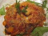 厚切りベーコンと揚げ茄子のピリ辛スパF