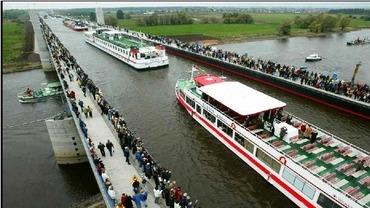 ドイツのエルベ川にかかるマクデブルク水路橋
