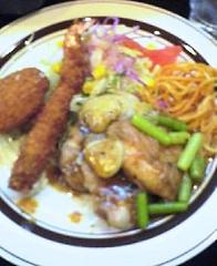 若鶏のニンニクソース、海老フライ&カニクリームコロッケ