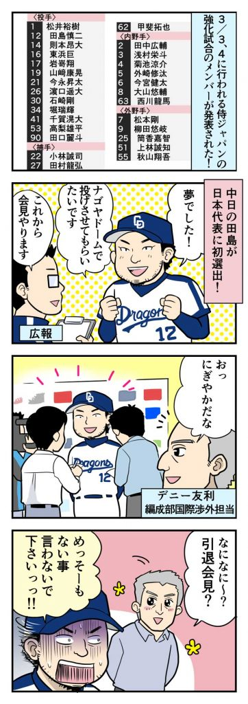 中日・田島、侍ジャパン初選出!