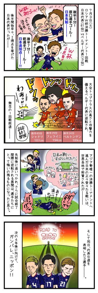 日本3-2でベルギーに敗戦、ベスト16に終わる