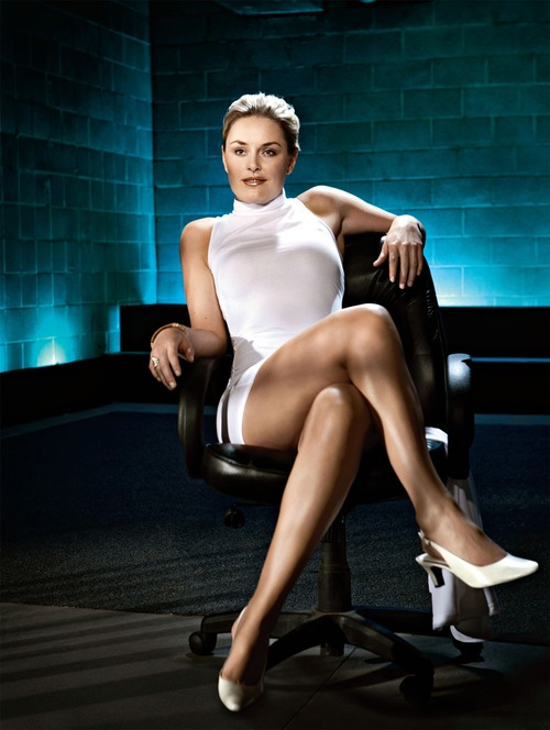 Lindsey Vonn as Sharon Stone from Basic Instinct