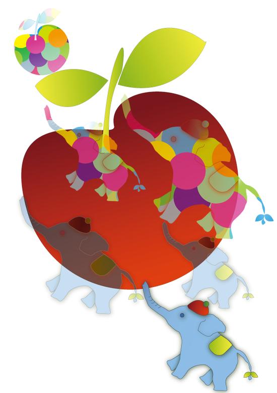 象とリンゴ