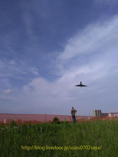飛行機と男性