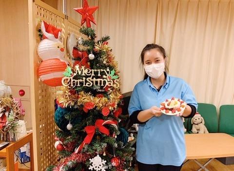 0215リンさん(秋桜でのクリスマス飾り