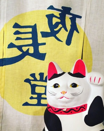 夜長堂イメージカット 暖簾と猫 (1)