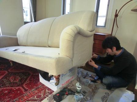 ラルフローレンのソファ、肘分解、組み立て仕上げ ...