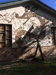 トビウキャンプ壁アート