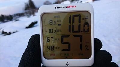 雪中キャンプ温度計