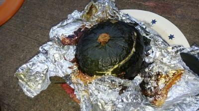 キャンプ料理かぼちゃリゾットその11