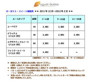 オーガスト2011年12月〜2012年2月価格表
