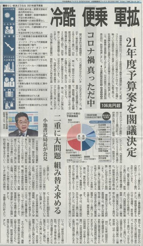 201222赤旗来年度予算案