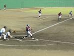 準々決勝..片岡選手が叩き市川選手本塁生還