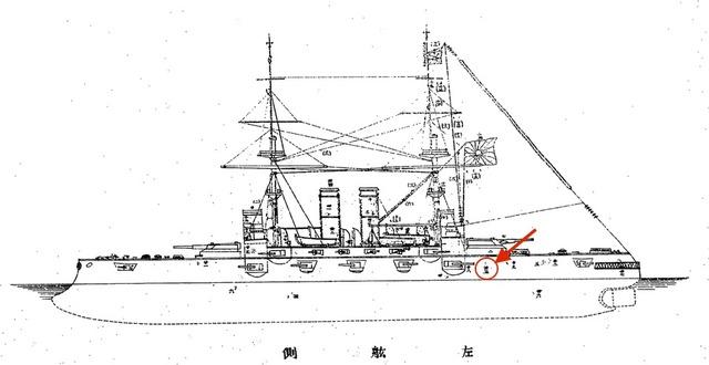 黄海海戦左舷弾痕図
