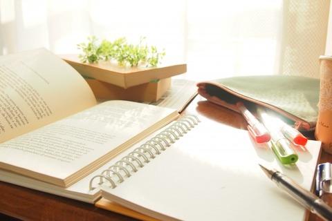 開いた英語の本とノート