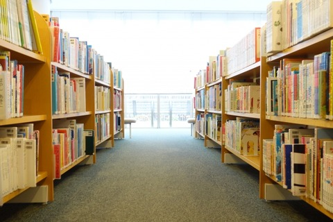 沢山の書籍が置かれた本棚が接地された図書館