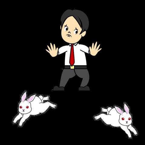 二匹のウサギを追う男性