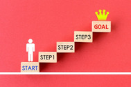 一段一段ステップを踏みながら目標を達成する