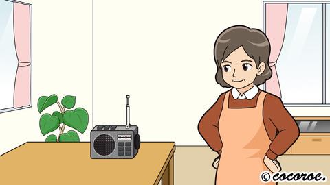 主婦のイラスト、ラジオのイラスト