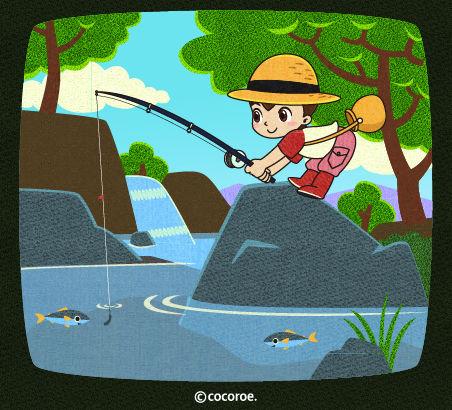 渓流釣りのイラスト、いわばの ...