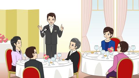結婚式スピーチのイラスト 披露宴会場