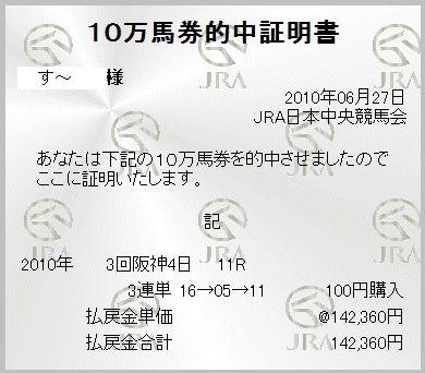 2010年6月27日阪神11R皆生特別