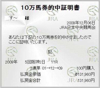 2009年12月6日阪神11Rジャパンカップダートno.2