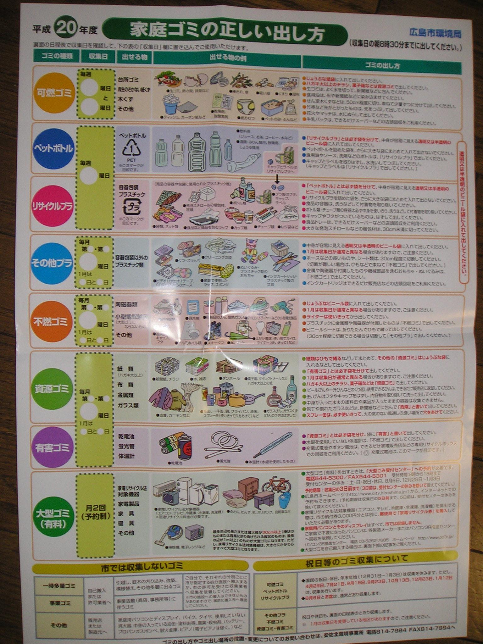 広島 市 ゴミ カレンダー