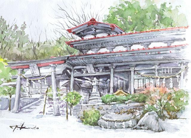 鵜鳥神社 水彩